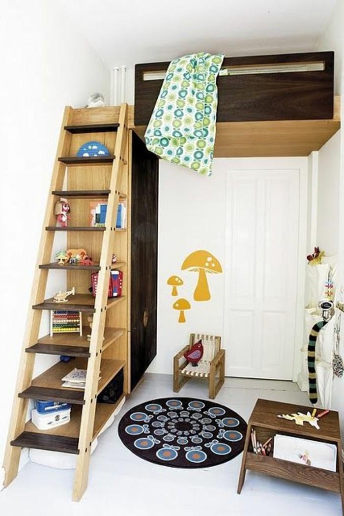 tapis-rond-noir-escalier-en-bois-clair-lit-supperposé-deco-chambre-ado-garcon