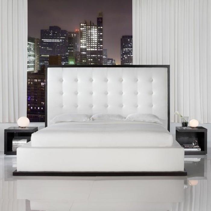 Chambre a coucher cuir blanc for Chambre complete adulte haut de gamme