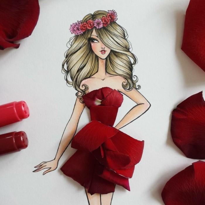 une-robe-été-robe-longue-d-été-dessin-cool-rose-fleur-rouge
