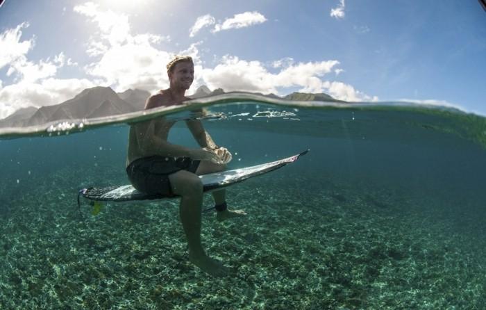 Kolohe Andino relaxes in Teahupoo, Tahiti, French Polynesia on August 16th, 2014
