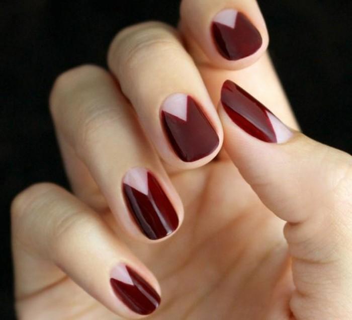 00-deco-ongle-facile-en-rouge-foncé-coment-decorer-les-ongles-french