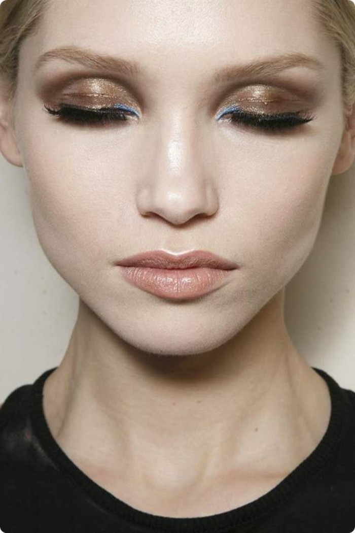 00-maquillage-en-or-smokey-eye-maquillage-année-60-maquillage-en-or-idees-tuto