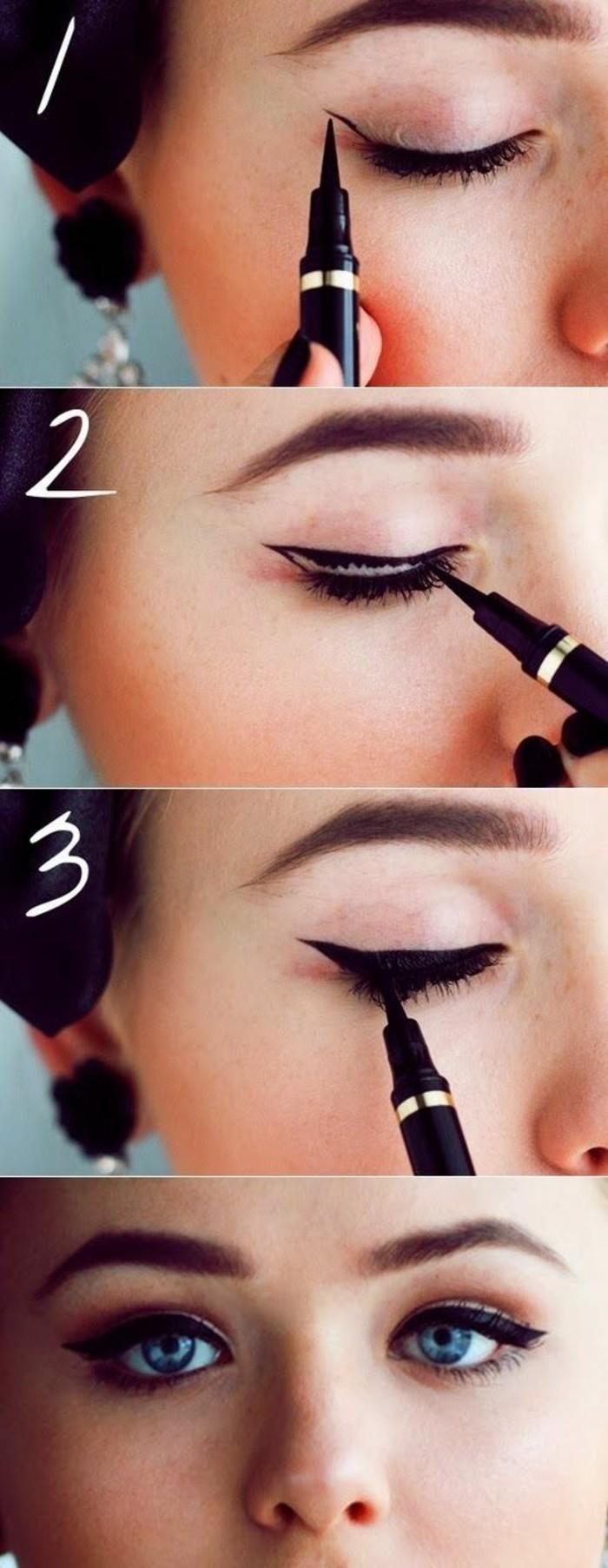 000-magnifique-maquillage-année-60-tuto-maquillage-yeux-bleus-idees