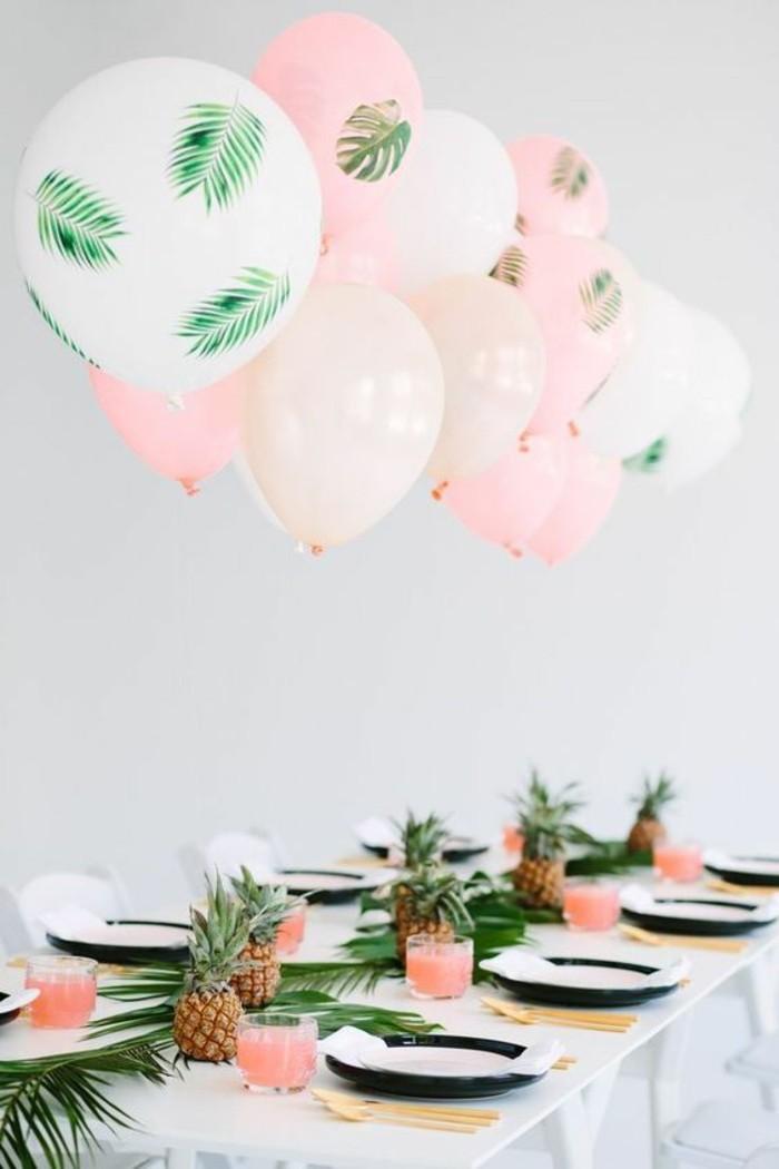 02-decoration avec des ballons en blanc, en rose et en vert