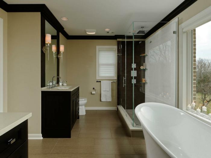 modele-salle-de-bain-contemporaine-baignoire-blanche-vasque-encastrée-dans-un-meuble-salle-de-bain-marron-cabine-de-douche-à-paroi-en-verre-style-sobre
