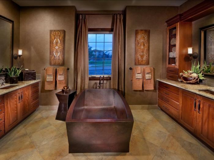modele-salle-de-bain-spacieuse-meubles-salle-de-bain-en-bois-rangement-en-bois-baignoire-en-pierre-idée-carrelage-salle-de-bain-en-grès-cérame-ambiance-exotique