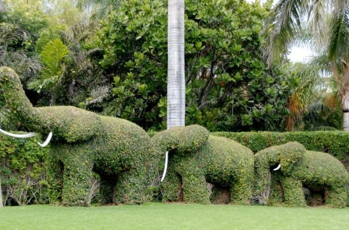 101-Statue de jardin - trois elephants