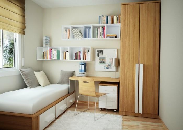 21.une magnique-idée-chambre-adulte-étageres-lit-avec-espace-de-rangement-petit-bureau-armoire-petites-espaces