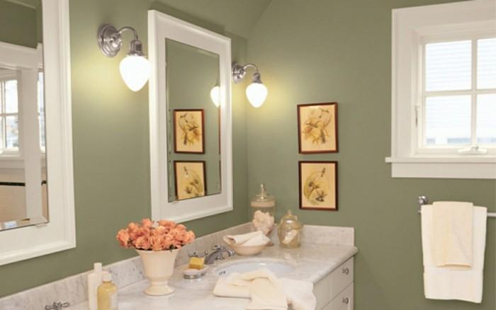 jolie-idee-deco-salle-de-bain-peinture-salle-de-bain-couleur-vert-de-gris-décor-élégant