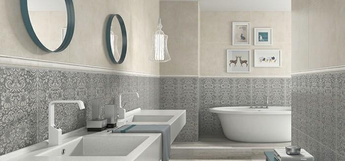 déco-salle-de-bain-en-blanc-et-gris-idée-carrelage-salle-de-bain-ésthétique-deux-lavabos-belle-déco-murale-baignoire-à-poser