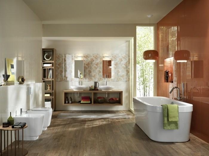 modele-salle-de-bain-en-blanc-et-rouge-idée-carrelage-salle-de-bain-en-blanc-et-rouge-baignoire-à-poser-mmeubles-de-rangement-salle-de-bain