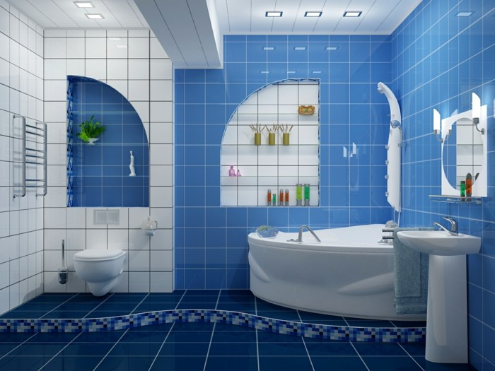modele-salle-de-bain-en-bleu-idée-carrelage-salle-de-bain-en-bleu-et-blanc-ambiance-spa