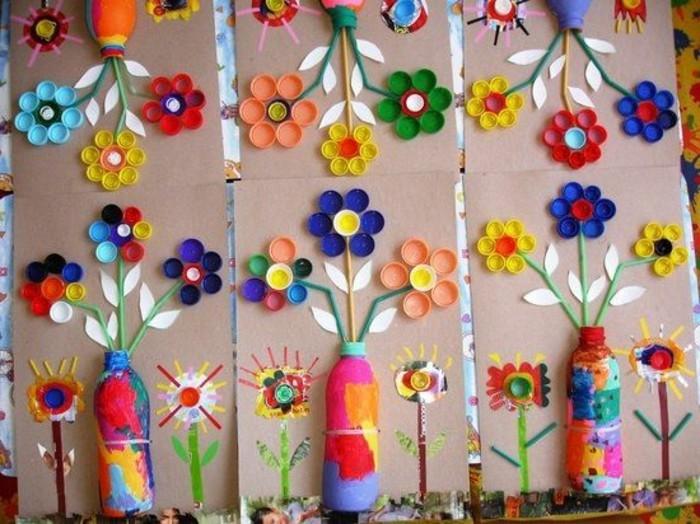 41-Sculpture pour jardin - fleurs dans des bouteilles