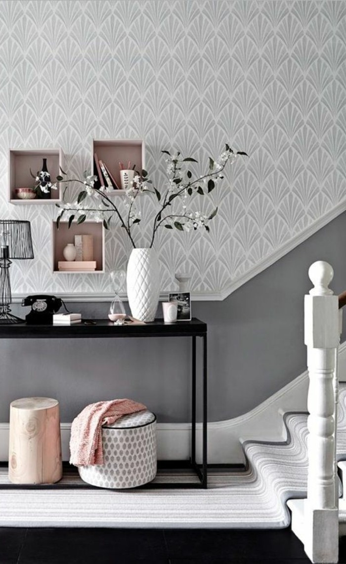 Salon gris galet et blanc pr l vement d for Galet decoratif gris