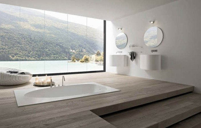 43-modele de la salle de bain au parquet
