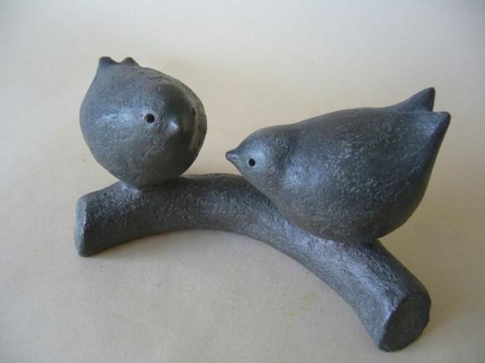 46-Sculpture pour jardin - oiseaux gris