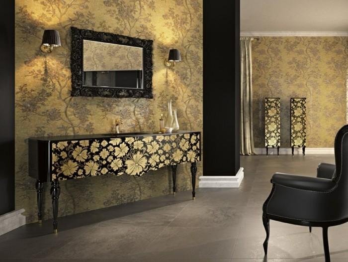 49-modele de la salle de bain en gris, jaune et noir