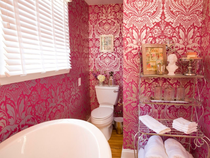 La d co salle de bain en 67 photos magnifiques for Deco salle de bain rose et gris