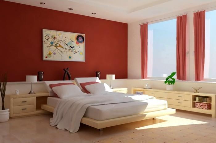 6.brillante-idée-style-moderne-déco-mur-peinte-en-rouge-foncé-grandes-fenêtres-pour-laisser-passer-la-lumière