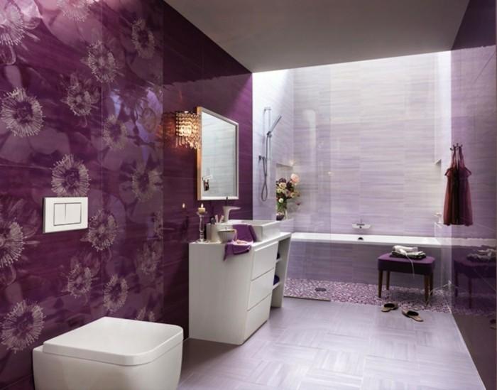60-faire une douche italienne en blanc et en lilas