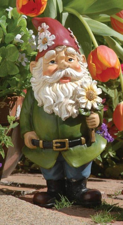 67-achat nain de jardin qui tient une fleur