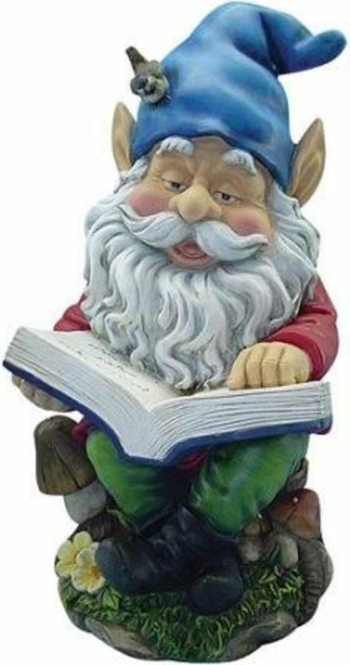 68-achat nain de jardin qui tient un livre