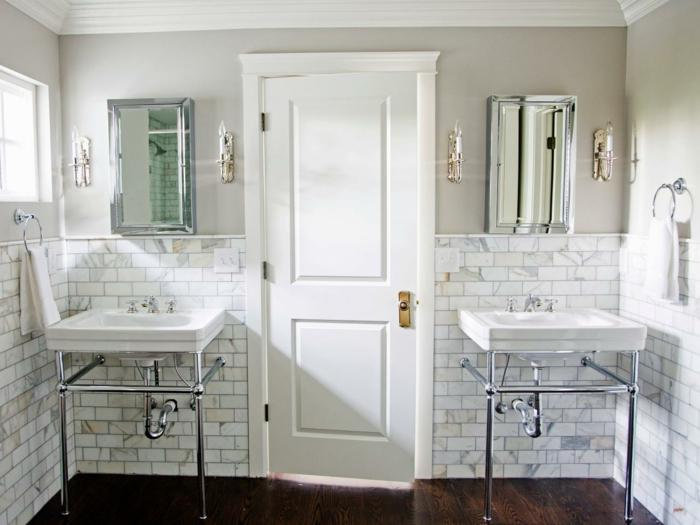 idee-deco-salle-de-bain-en-marbre-de-calacatta-et-deux-lavabos-console