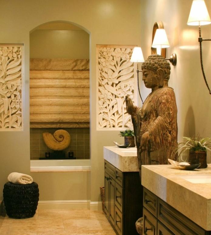 salle-de-bain-zen-déco-salle-de-bain-exotique-touche-orientale-deux-vasques-simples-encastrés-dans-des-meubles-salle-de-bain