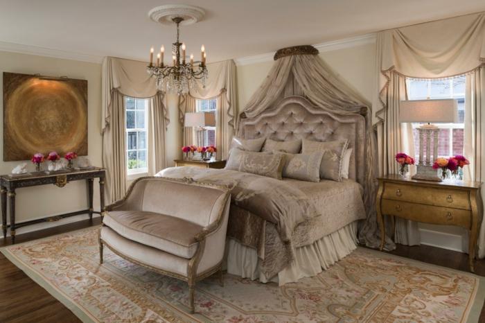 9.idée-de-déco-chambre-adulte-vintage-style-victorien-luste-grand-lit-canapé-belles rideaix