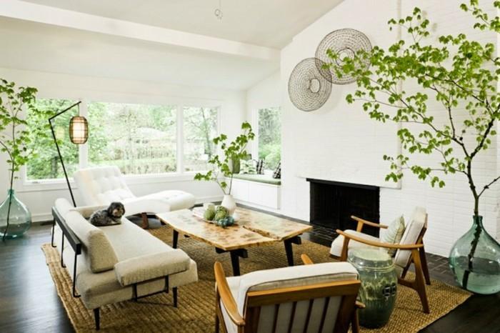 aménager-un-petit-salon-zen-table-à-café-fauteuils-et-sofa-commodes-plantes