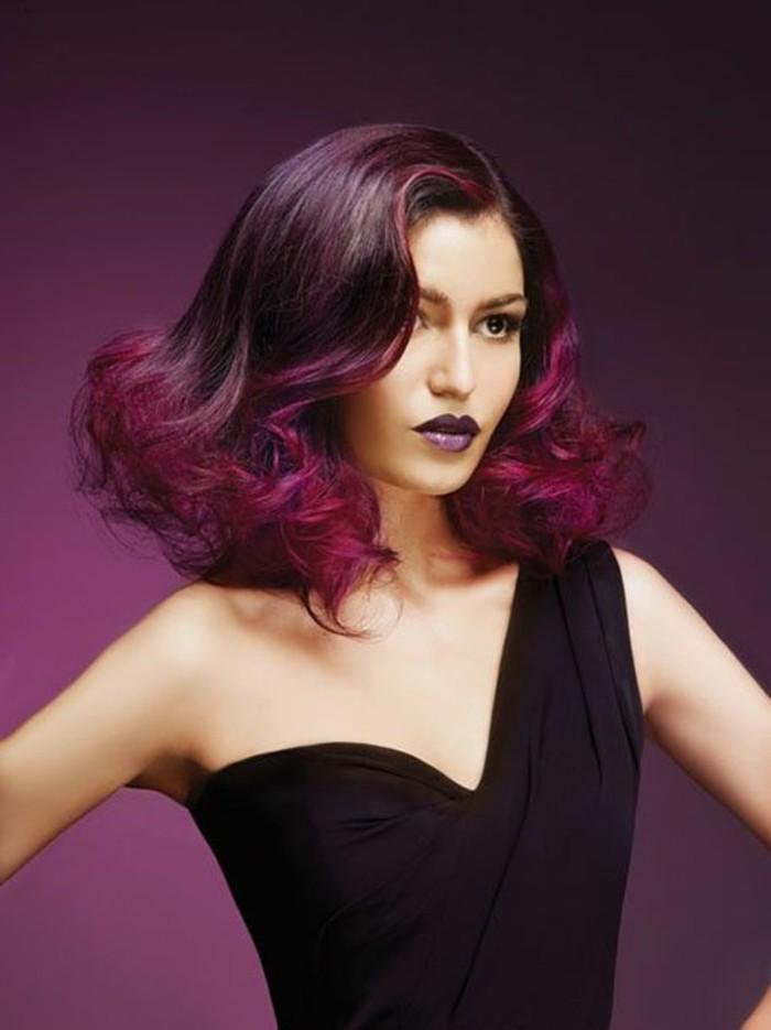 beauté-couleur-de-cheveux-rouge-violet-cheveux-maquillage-tendances