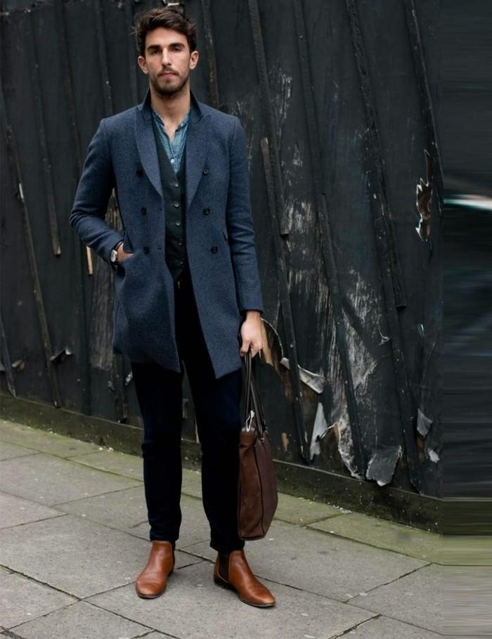 beauté-homme-stylé-manteaux-pour-homme-en-bleu