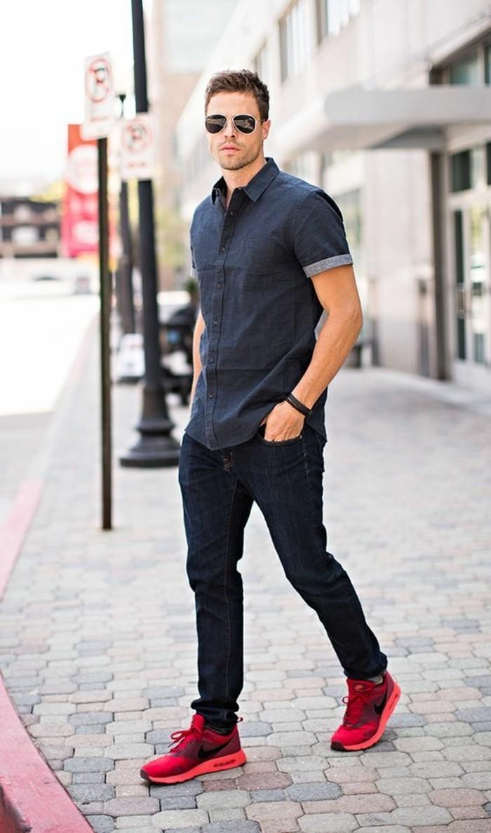 belle-idée-pour-la-chemise-homme--manche-courte-homme-bleu-foncé