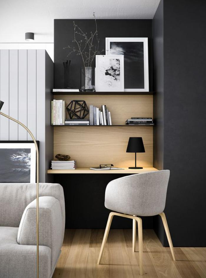 bureau-design-aménager-un-petit-office-dans-le-salon