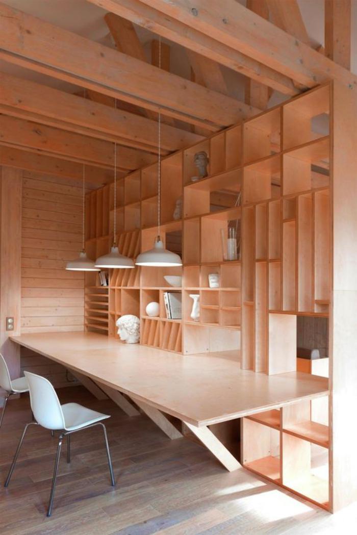 bureau-design-joli-intérieur-bureau-avec-étagère-en-bois
