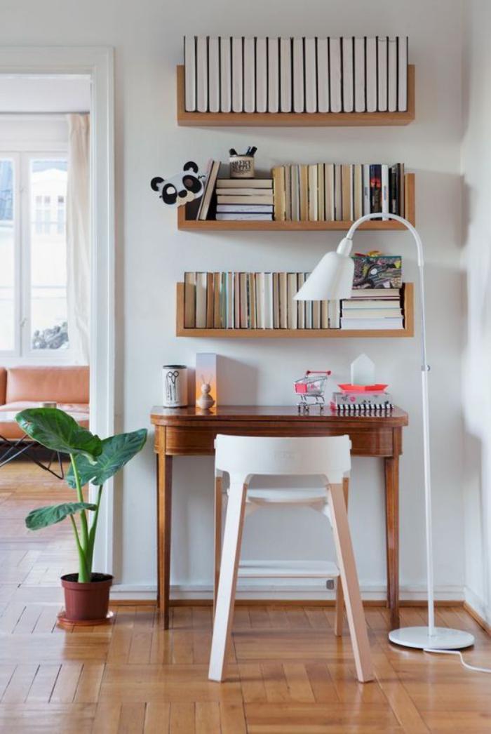 bureau-design-petit-bureau-console-étagères-suspendues
