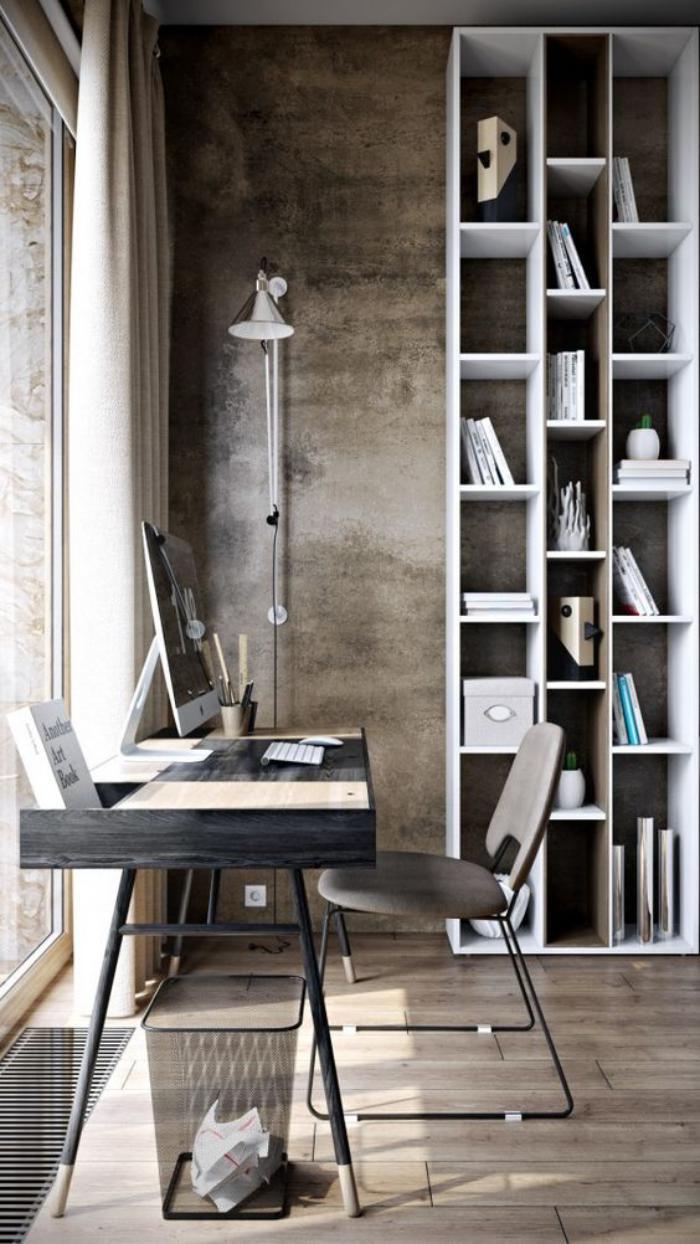 bureau-design-petit-bureau-design-pièce-monochrome