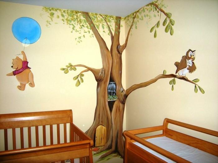 chambre-bébé-idée-de-déco-imaginative-belle-déco-murale-lit