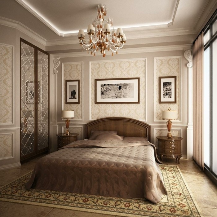 chambre-vintage-belle-déco-vintage-lit-en-bois-marron-tapis-oriental-lampe-de-chevet vintage-jolie-lustre-vintage-déco-murale-vintage-papier-peints-motifs-floraux