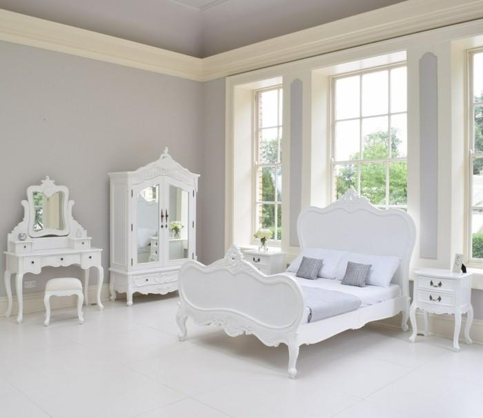 chambre-vintag- blanche-chambre-paradis-céleste-meubles-en-bois-blanc