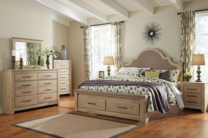 chambre-vintage-classique-meubles-en-bois-miroir-modèle-chambr- adulte-maginique-idée-déco