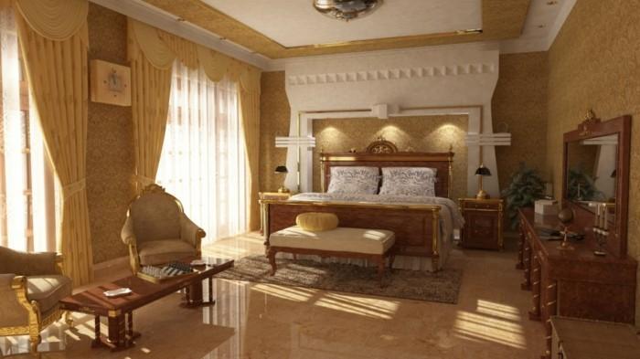 chambre-vintage-déco-chambre-vintage-adulte-idée-papier-peint-chambre-adulte-meubles-en-bois