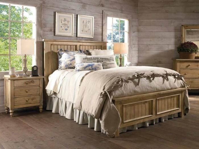 chambre-vintage-déco-chambre-vintage-chambr-adulte-rustique-lit-en-bois-revêtement-en-bois