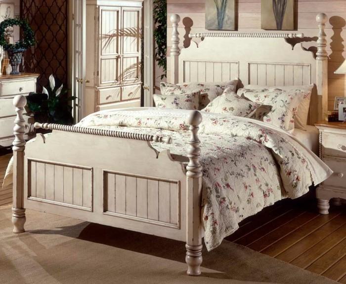 chambre vintage-déco-chambre-vintage-classique-lit-en-bois-blanc-meubles-en-bois-blanc-modèle-chambre-adulte