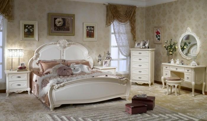 chambre-vintage-déco-chambre-vintage-idée-papier-peint-table-adulte-miroir-commode-blanc-vintage-belles-rideaux-légers-gros-lit-vintage