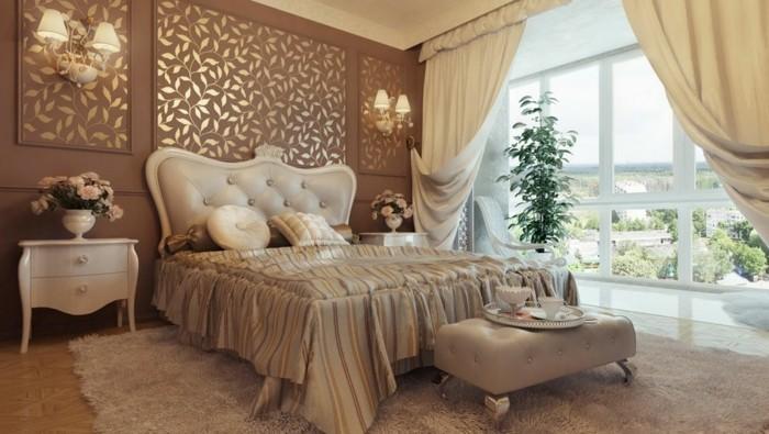 chambre-vintage-déco-chambre-vintage-idée-peinture-chambre-adulte-lit-style-vintage-fleurs