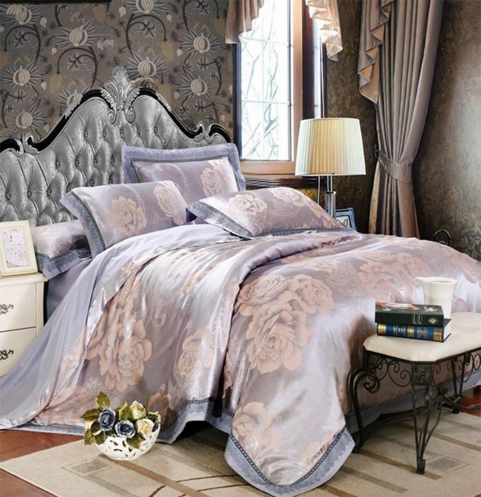 chambre-vintage-déco-chambre-vintage originale-idée-papier-peint-chambre-adulte-lit-baroque