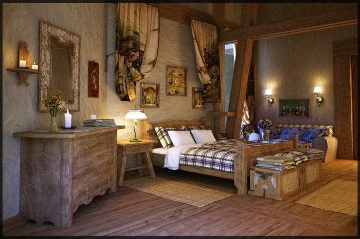 chambre-vintage-en-bois-jolie-déco-murale-chambre-vintage-accesoires-vintage