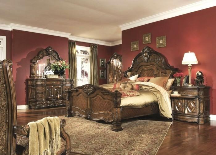 chambre-vintage-en-rouge-déco-chambre-vintage-lit coiffeuse-armoire-en-bois-tapis-oriental