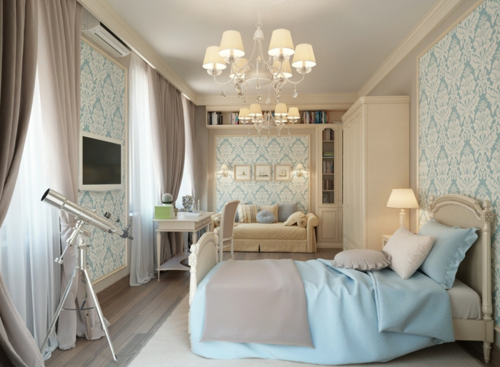 chambre-vintage-idée-chambre-vintage-chic-idée-papier-peint-chambre-adulte-coin-travail-coin-ropos